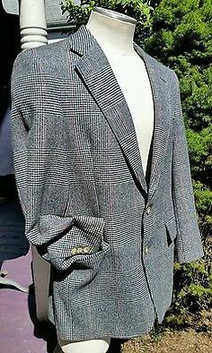 Men's Austin Reed Scotland woven check houndstooth sports coat jacket pure wool