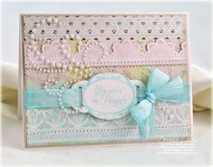 ENABLER'S ALERT! Lace Border Card with Just Right Stamps ~ If you like to dabble in Vintage or Shabby Chic, these stamps are a must-have!
