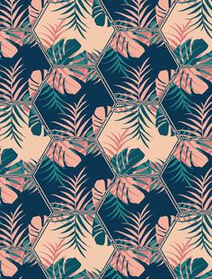 Digital illustration, geometric pattern with palms and monstera leaves. Tropical summery tiles. From ink pen hand drawing by DesigndN.