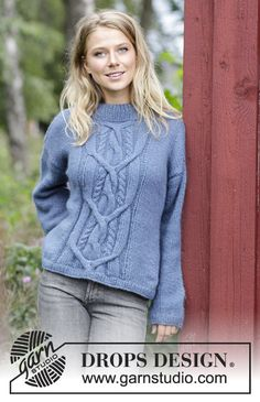 Winter Love / DROPS 184-11 - Knitted jumper with cable on front. Sizes S - XXXL. The piece is worked in DROPS Air.