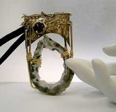 crystal cave and onyx pin pendant