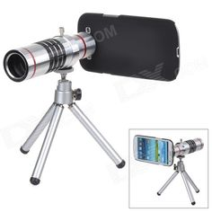 Brand: N/A; Quantity: 1 Piece; Color: Silver + black + red; Material: Aluminum alloy; Compatible Models: Samsung i9300; Application: For cellphone; Features: Great for taking photos of distance scene; Packing List: 1 x Lens2 x Lens covers1 x Holder ring1 x Tripod1 x Back case1 x Pouch1 x Cleaning cloth1 x English user manual; http://j.mp/1lkuLxQ