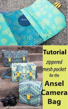 Sewing Bags Project Free Tutorial: Adding a Zippered Mesh Pocket to the Sew Sweetness Ansel Camera Bag sewing pattern - Free tutorial on how to add a zippered mesh pocket to the Sew Sweetness Ansel Camera Bag sewing pattern Bag Pattern Free, Bag Patterns To Sew, Handbag Patterns, Sewing Projects For Beginners, Sewing Tutorials, Sewing Crafts, Sewing Ideas, Bags Sewing, Bag Tutorials