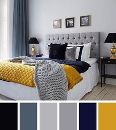 navy blue yellow and grey bedroom grey and blue decor with pop of color bedroom decor inspiration navy blue grey yellow bedroom Blue Bedroom Colors, Navy Blue Bedrooms, Bedroom Color Schemes, Colourful Bedroom, Bedroom Black, Bedroom Yellow, Mustard Bedroom, Apartment Color Schemes, Grey Bedroom Decor