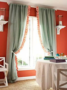 4 Ways to Personalize Curtain Panels  Transform your curtains from simple to chic in one afternoon by adorning plain, ready-made panels.