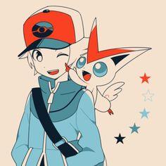 Hilbert and Victini Gladion Pokemon, Pikachu, Pokemon Manga, Black Pokemon, Pokemon Games, Pokemon Stuff, Pokemon Trainer Red, Lagann Gurren, Original Pokemon