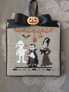Finished-Completed-Cross-Stitch-Ornament-Halloween-Hunted-House-Bent-Creek