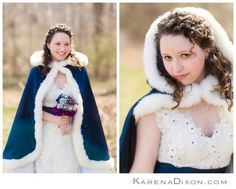 My DIY brooch bouquet, sapphires and blue & white cape & wedding dress. Winter wedding. Naturally curly hair.