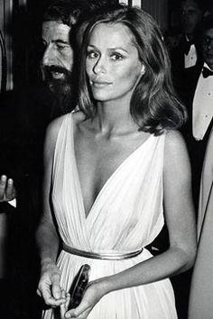Lauren Hutton in white dress