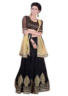 Ethnic Wear Black & Beige Net Lehenga Choli - 60167