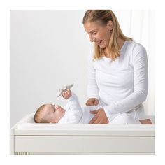 IKEA - GULLIVER, Changing table, white, Comfortable height for changing the baby. Practical storage space within close reach. You can always keep a hand on your baby. Baby Massage, Painted Table Tops, Baby Changing Tables, Ikea Family, Vinyl Cover, Baby Skin, Changing Pad, Baby Care, Bassinet