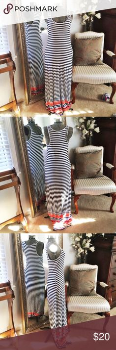 Old Navy Striped Maxi Dress Small Old Navy striped maxi dress. White, navy, royal blue, peach and orange. Great condition. 95%, rayon 5% spandex. Roughly 59 inches long. Old Navy Dresses Maxi