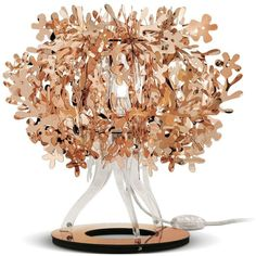 Slamp Home Fiorellina Copper Table Lamp ($265) ❤ liked on Polyvore featuring home, lighting, table lamps, brown, circular lights, brown lamp, brown table lamps, incandescent lamp and copper lamp