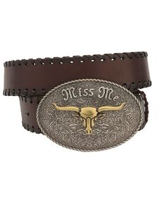 Brown Leather Belt Plate Buckle with Steer Head