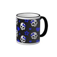 Goth Girl Skulls on Dark Blue Ringer Mug