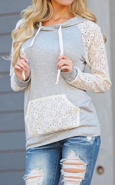 If you're a total lace case, you'll absolutely love this white lace patchwork sweatshirt. See more amazing items at Fichic.com !