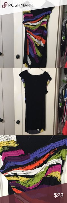 Rampage Multi Color Dress 95% Polyester. 5% Spandex.  Ruched colorful front. Plain black back. 2 Rampage Dresses
