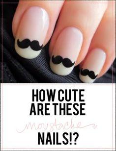 Weddbook ? Cute Moustache Nails. Unique wedding nail design ideas. Creative wedding nail art. French Manicure and French Nail Art moustache balck white