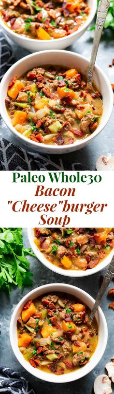 Bacon Cheeseburger Soup {Paleo This creamy cheesy bacon cheeseburger soup is cozy filing comfort food thats insanely delicious and good for you too! Packed with protein veggies and flavor this soup is also dairy-free paleo and compliant. Whole30 Soup Recipes, Cheese Burger Soup Recipes, Paleo Soup, Healthy Recipes, Chili Recipes, Fruit Recipes, Lunch Recipes, Healthy Meals, Diet Recipes