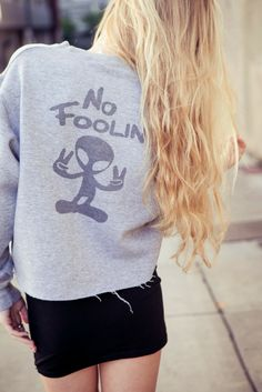 Brandy ♥ Melville | Nancy No Foolin Cropped Sweatshirt - Graphics
