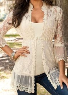 Hermione outfit inspiration-Lace Tunic in White Beauty And Fashion, Look Fashion, Passion For Fashion, Womens Fashion, Trendy Fashion, Fashion Spring, Fashion Outfits, Fashion Design, Lingerie Look