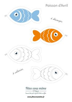 Planche à imprimer avec des poissons d'avril à découper en version couleur ou à colorier.