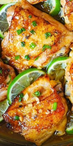 Five Approaches To Economize Transforming Your Kitchen Area Pan-Roasted Cilantro Lime Honey Chicken Thighs Easy, Delicious, Super-Flavorful Chicken Honey Chicken Thighs, Cooking Chicken Thighs, Honey Lime Chicken, Roasted Chicken Thighs, Cilantro Lime Chicken, Baked Chicken, Chicken Skin, Chicken Legs, Roast Chicken