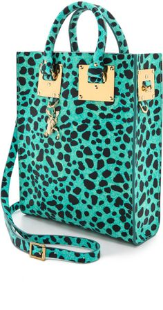 Sophie Hulme Green Leopard Mini Tote Bag Turquoise Leopard Print