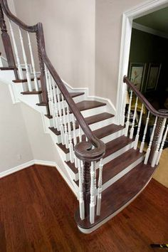 Oak Railing and Treads, Painted Balusters with Double Sided Starting Step