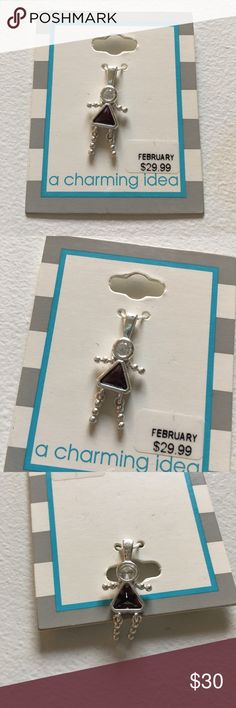 "NEW February Girl Silver Birthstone Pendant Brand new with attached tags. Measures 1"" total length. Pendant only. Attach to your own chain. Metal type is not marked. Silver color. Jewelry"