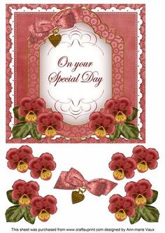 Dark Red Pansy Special Day Fancy 7in Decoupage Topper on Craftsuprint - Add To Basket!