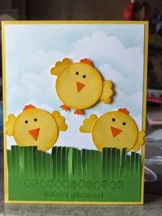 This is the Easter card I made for my kids this year. This is so fun. The chicks are made from the Circle punch, itty bitty flower punch...