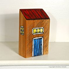 Little House Painted on Reclaimed Wood Block by TaylorArts on Etsy