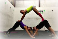Easy 3 person triangle yoga