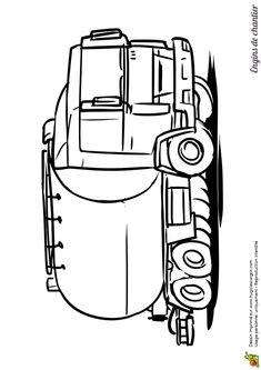 Un joli dessin de camion citerne à colorier