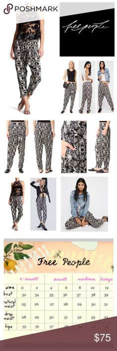"""Free People Casablanca Harem Pants.  NWT. Free People Casablanca Harem Pants, 67% polyester, 100% viscose, washable, 29"""" elasticized waist which stretches up to 34"""", 16"""" front rise, 16.5"""" back rise, 26"""" inseam, 12"""" leg opening all around, harem style silky printed pants featuring pleat detailing and hip pockets, smocked elastic waistband in back for easy fit, high rise silhouette, measurements are approx.  NO TRADES Free People Pants"""