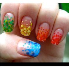 Super cool nails found on Polyvore, love the yellow ones! Add glitter and you've got a winner!