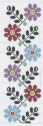 Cross Stitch Bookmarks, Cross Stitch Borders, Cross Stitch Designs, Cross Stitching, Cross Stitch Embroidery, Embroidery Patterns, Hand Embroidery, Cross Stitch Patterns, Mosaic Patterns