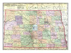 1910, State Map, North Dakota, United States Giclee Print