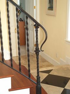 Antique Black Wrought Iron Stair Railing with Solid Brown Wood Tread and Minimalist Flat Style Handrails Style also Twister Style Baluster Materials Style Wrought Iron Porch Railings, Outdoor Stair Railing, Wrought Iron Stair Railing, Stair Railing Design, Staircase Railings, Stair Decor, Staircases, Hand Railing, Steel Railing