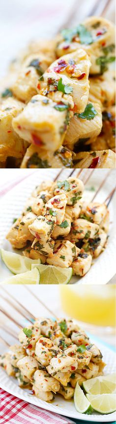 Lime Chicken Kebab Cilantro Lime Chicken Kebab - juicy chicken kebab marinated with cilantro, lime juice and garlic. The easiest and best chicken kebab recipe ever! Easy Delicious Recipes, Healthy Recipes, Yummy Food, Tasty, Kebab Recipes, Grilling Recipes, Cooking Recipes, Lime Chicken, Chicken Kebab