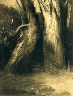 """""""Two trees"""" (1875) by Odilon Redon via Wikipaintings It looks as if the one tree is leaning in to kiss the other. They have been side by side their whole lives."""