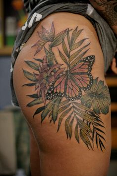 27 ideas for nature tattoo sleeve birds tat Tropisches Tattoo, Make Tattoo, Leg Tattoos, Flower Tattoos, Sleeve Tattoos, Tattoo Thigh, Tattoo Skin, Tribal Butterfly Tattoo, Butterfly Tattoo Cover Up