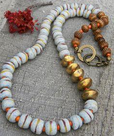 African Krobo Sandcast Necklace Powder Glass Brass by ChrysalisToo