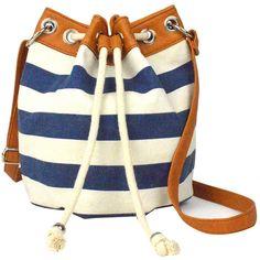 Arizona Sailor Bucket Bag (530 UYU) ❤ liked on Polyvore featuring bags, handbags, shoulder bags, purses, accessories, bolsas, crossbody shoulder bags, nautical handbags, imitation handbags and crossbody purse