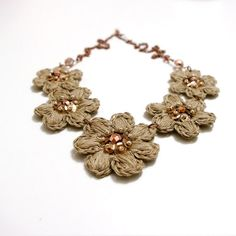Crochet beaded necklace Linen 100% crochet necklace di byBertute