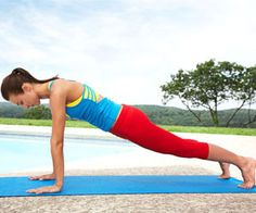 Tadpole to Frog    Targets: Shoulders, triceps, abs, butt, quads, and calves        Start on mat in full push-up position, balancing on hands and toes, arms extended, body forming a straight line from head to heels.      Keeping arms tucked close by sides, bend elbows directly behind you to lower chest toward mat.