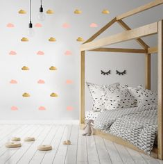 Add a touch of style to any children's bedroom or playroom with these pink & silver cloud wall transfers from PÖM Le Bonhomme. Wall stickers are stylish decor Scandinavian Wall Decor, Wall Transfers, Cloud Lamp, Pink Clouds, Decorate Your Room, Deco Design, Cool Walls, Kids Bedroom, Childrens Bedroom