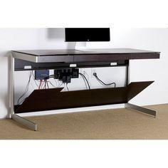 Black Glass Desk   Sequel Furniture Collection   6001 Expresso Oak Clever cable management system....