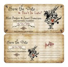 Alice in Wonderland Themed Save the Date. Alice in wonderland ticket save the date. Alice In Wonderland Wedding Theme, Vintage Wedding Cards, Mad Hatter Tea, Wedding Themes, Wedding Ideas, Save The Date, Stencil, Country Engagement, Party